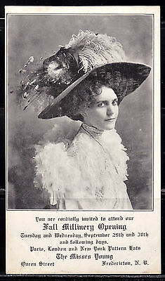 Fredericton, NB, The Misses Young Fall Millinery Opening, 1908, Undivided Back