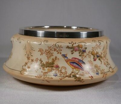 crown ducal fruit bowl exotic birds hallmarked Sheffield solid silver rim 1921