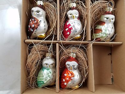 Set of 5 Mini Owl Bird glass ornaments Gift Boxed Woodland decor Christmas