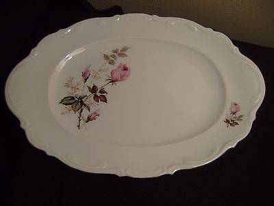 Vtg MITTERTEICH of Germany MIT1 Platter 15 Inch, Pink Roses and Gold Trim  MINT