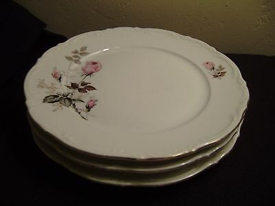 3 Vtg MITTERTEICH, Germany MIT1 Dinner Plates, with Pink Roses and Gold Trim