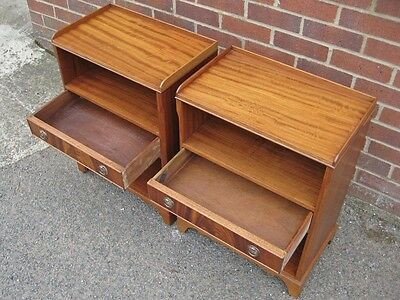 Pair 2 Bevan Funnell Reprodux mahogany 1 drawer bedside shelf cabinet tables