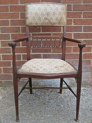 Art Nouveau Edwardian antique solid mahogany inlaid upholstered armchair chair