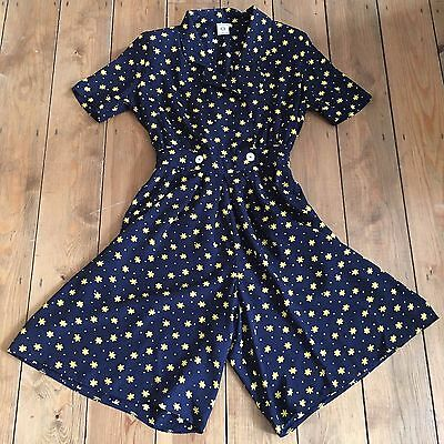 Uk Size 12 Womens Vintage Play Suit C&a Navy Blue Yellow Daisy