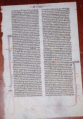 MEDIEVAL ILLUMINATED MANUSCRIPT BIBLE LEAF France c1260  Deut 4 Lord is jealous!