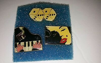 3 vintage AGB pins pin up dice piano player 1987