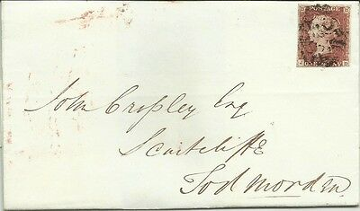Gb Qv 1842 Cover Penny Red Imperf 'jd' From Halifax Tied By Double 'mx'