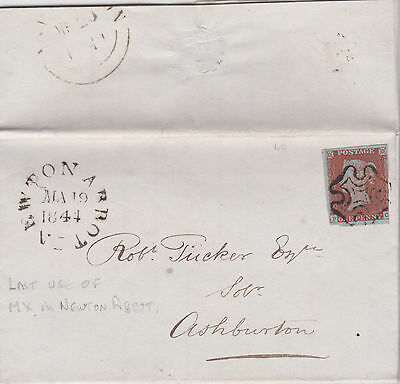 Gb Qv 1844 Wrapper Penny Red Imperf 'pc' Last Use Of 'mx' In Newton Abbot Rare!