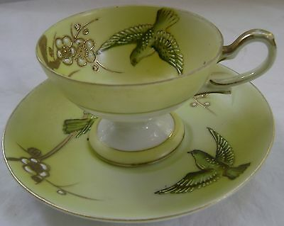 SHOFU CHINA Made In Occupied Japan DEMITASSE CUP & SAUCER Birds & Flowers