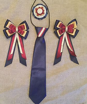 childs equestrian showing set - show tie & bows Buttonhole NAVY BURGUNDY GOLD