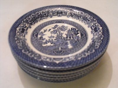 Vintage EIT English Ironstone Tableware Blue Willow 25cm lunch plates x 6