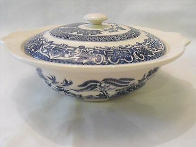 Vintage EIT English Ironstone Tableware Old Blue Willow 25cm Tureen