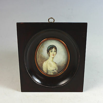 Antique French Hand Painted Miniature Portrait of a Young Lady