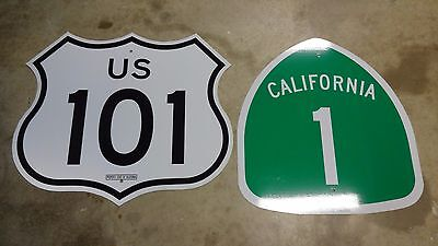 AUTHENTIC PACIFIC COAST HIGHWAY  HWY 1 & 101 California Highway Road Sign PCH