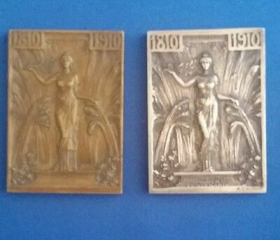 Rene Lalique Silver and Bronze 1910 Chile centenary plaques.  great condition.