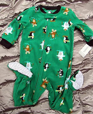 b5096702f8c4 NWT CARTER S GREEN with SKIING ANIMALS FOOTED BLANKET SLEEPER Infant ...