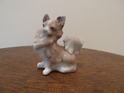 "Vintage LLADRO Porcelain PAPILLON Dog Figurine Spain 3"" Tall"