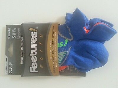 NEW!!! - Feetures Elite Socks Women Size Small No Show Tab Blue/Orange E5504791