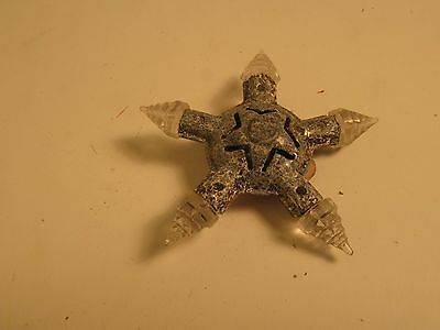 "Vintage Miniature Lighted Christmas Tree Star Ornament 2.5"" Metal & Plastic"