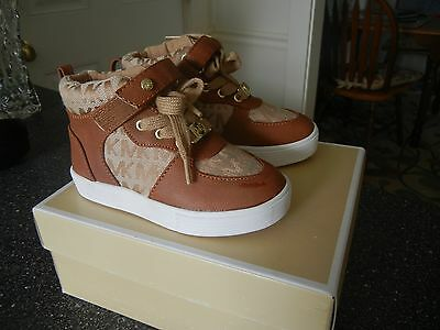 NEW MICHAEL KORS Girls Size 8 Cali Alyssa-T Brown Sneakers Shoes High Top