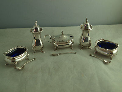 Elegant 5Pc Solid Silver Cruet Set - 311g - Walker & Hall Birm. 1922