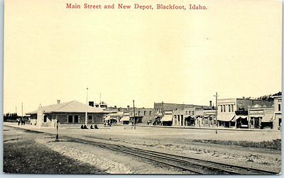 "Blackfoot, Idaho Postcard ""Main Street & New Depot"" Downtown Railroad c1910s"