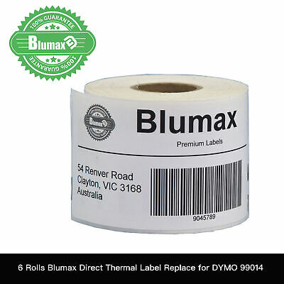 6 Blumax White Shipping Label Replace for Dymo SD99014 54x101mm Labelwriter450
