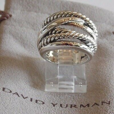 David Yurman New Wide CrossOver Sterling Silver Cable Band Ring Size 6 w/ Pouch