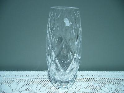 Vintage Sparkling Deeply Cut Crystal Vase - 17.2Cm - Crosses And Circles - Vgc