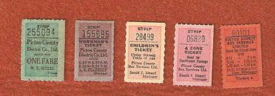 5 Different Pictou County N.S. Electric Co. Ltd.Transit Tickets from 1920 Era