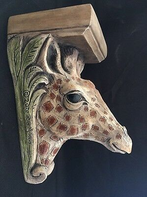 2001 Telle M. Stein Hand Cast GIRAFFE Wall Shelf Functional Art Bracket #0302