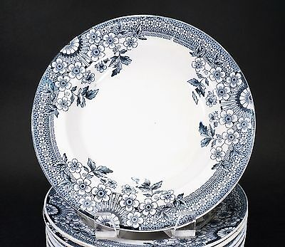 Aesthetic Blue White Transferware Staffordshire A & F Co, FOLEY 8 Soup Bowls