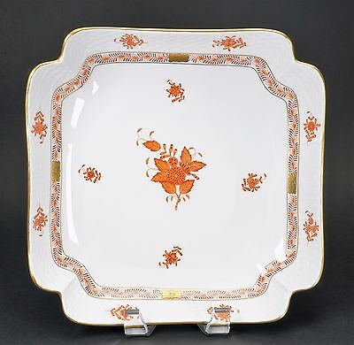 Herend Hungary Chinese Bouquet Rust 10 Inch Large Square Fruit Bowl 181