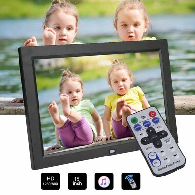 """12"""" HD TFT-LCD Digital Photo Picture Frame Clock MP4 Movie Player+Remote Control"""