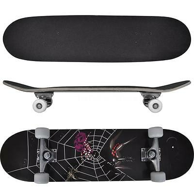 """NEW  Oval Shape Skateboard 9 Ply Maple Spider Design 8"""" S8F4"""