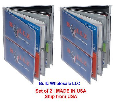 Heavy Duty Vinyl Hipster Wallet Inserts Mens 6-Pages TOP LOAD MADE IN USA 2-Pcs