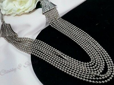 Vintage 1930's Silver Strand Ball Chain Art Deco Graduated Collar Multi Necklace