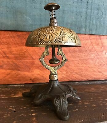 Solid Brass Ornate Hotel Working Desk Bell On Stand, W/ Antique Patina Finish