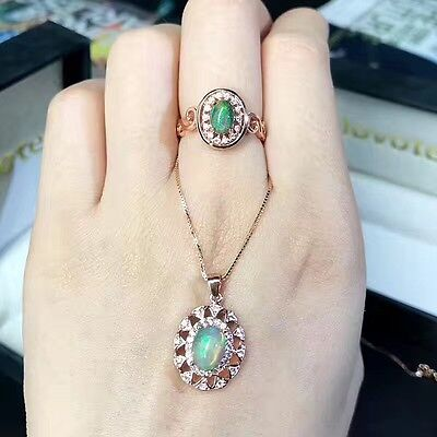 A set of natural opal 925 silver Adjustable wedding ring and necklace