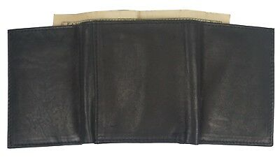 Mens Black TRIFOLD WALLET Soft Cow Leather Credit Card Case Window ID