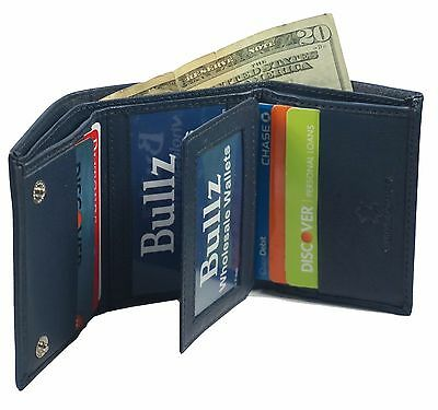 Mens  Slim Trifold Genuine Leather Wallet Credit Card Window 3 ID License Blue