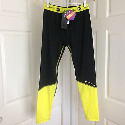 NWT ~ UNDER ARMOUR Youth Boys Combine Black & Yellow Training Leggings L $49.99