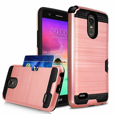 For LG Aristo 3, G7 ThinQ, V40 Wallet Case Rugged Armor Card Slot Phone Cover