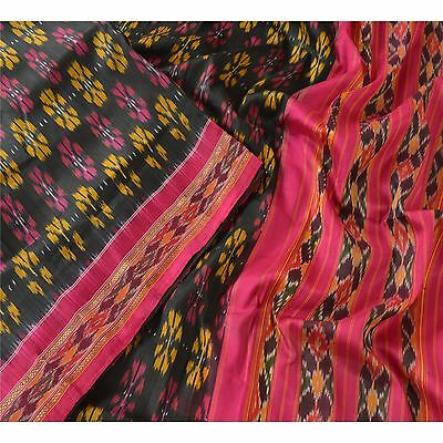 Sanskriti Vintage Indian Saree Woven Patola Sari Fabric Pure Silk Soft Black