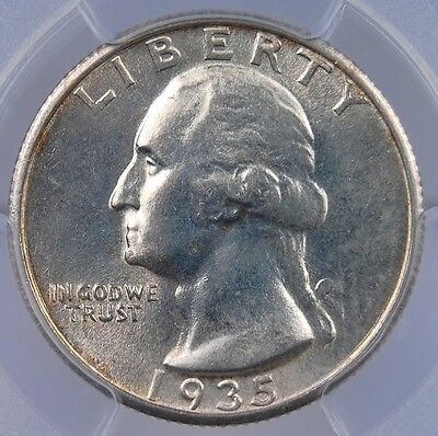 1935 S Washington Quarter Pcgs Ms 63 Lustrous And Mostly White