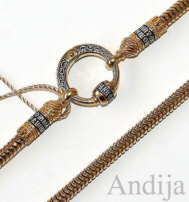 """ROUND CHAIN W/CONNECTOR RUSSIAN ORTHODOX STERLING SILVER 925+999 GOLD 50cm 19,7"""""""