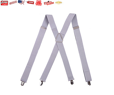 """HDE Men's Big and Tall X-Back Clip Suspenders 1.5"""" Wide Adjustable 55"""" Long NEW"""