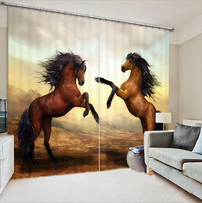 Fighting Horse 3D Blockout Photo Printing Curtains Draps Fabric Window Mural 083