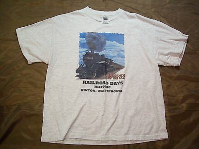 2004 WEST VIRGINIA RAILROAD SHIRT LEGENDS OF THE RAIL train tee gray adult XL