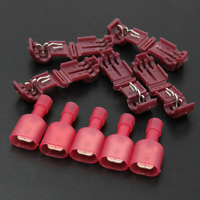 40pcs Red Quick Lock Splice Wire Terminals Connector Crimp Clip Car Wiring Cable